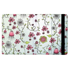 Pink whimsical flowers on blue Apple iPad 3/4 Flip Case