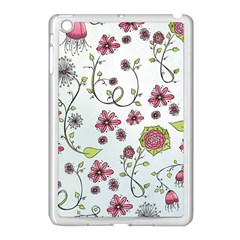 Pink Whimsical Flowers On Blue Apple Ipad Mini Case (white)