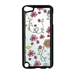 Pink whimsical flowers on blue Apple iPod Touch 5 Case (Black)