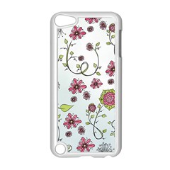 Pink Whimsical Flowers On Blue Apple Ipod Touch 5 Case (white)