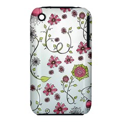 Pink whimsical flowers on blue Apple iPhone 3G/3GS Hardshell Case (PC+Silicone)
