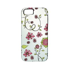 Pink Whimsical Flowers On Blue Apple Iphone 5 Classic Hardshell Case (pc+silicone)