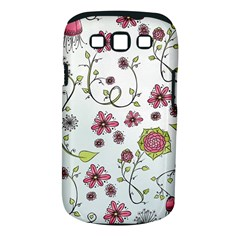 Pink whimsical flowers on blue Samsung Galaxy S III Classic Hardshell Case (PC+Silicone)