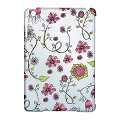 Pink whimsical flowers on blue Apple iPad Mini Hardshell Case (Compatible with Smart Cover)