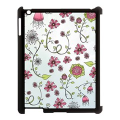 Pink whimsical flowers on blue Apple iPad 3/4 Case (Black)