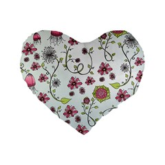 Pink whimsical flowers on blue 16  Premium Heart Shape Cushion