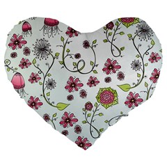 Pink whimsical flowers on blue 19  Premium Heart Shape Cushion