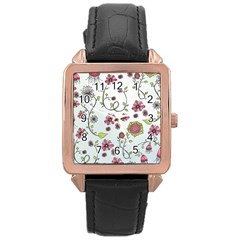 Pink whimsical flowers on blue Rose Gold Leather Watch