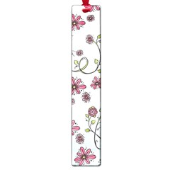 Pink Whimsical Flowers On Blue Large Bookmark