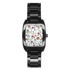 Pink whimsical flowers on blue Stainless Steel Barrel Watch