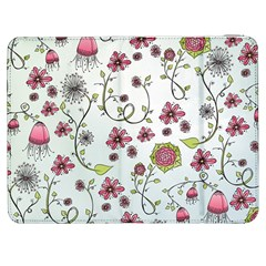 Pink whimsical flowers on blue Samsung Galaxy Tab 7  P1000 Flip Case