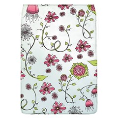 Pink Whimsical Flowers On Blue Removable Flap Cover (large)