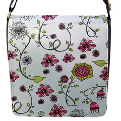 Pink whimsical flowers on blue Flap Closure Messenger Bag (Small)