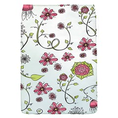 Pink whimsical flowers on blue Removable Flap Cover (Small)