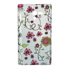 Pink whimsical flowers on blue Sony Xperia ZL (L35H) Hardshell Case