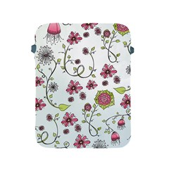 Pink whimsical flowers on blue Apple iPad Protective Sleeve