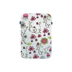 Pink Whimsical Flowers On Blue Apple Ipad Mini Protective Sleeve