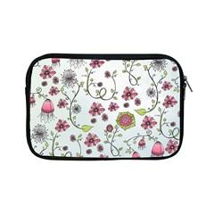 Pink whimsical flowers on blue Apple iPad Mini Zippered Sleeve
