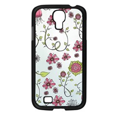 Pink Whimsical Flowers On Blue Samsung Galaxy S4 I9500/ I9505 Case (black)