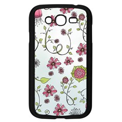 Pink whimsical flowers on blue Samsung Galaxy Grand DUOS I9082 Case (Black)