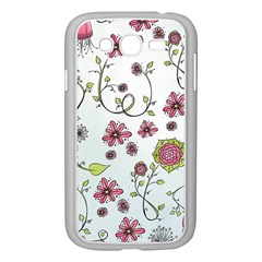 Pink whimsical flowers on blue Samsung Galaxy Grand DUOS I9082 Case (White)