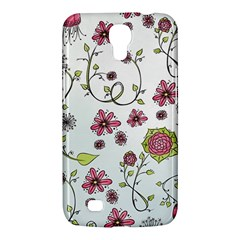 Pink whimsical flowers on blue Samsung Galaxy Mega 6.3  I9200 Hardshell Case