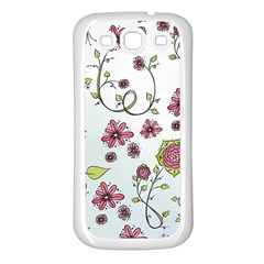 Pink whimsical flowers on blue Samsung Galaxy S3 Back Case (White)