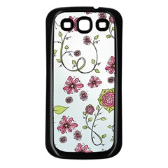 Pink Whimsical Flowers On Blue Samsung Galaxy S3 Back Case (black)