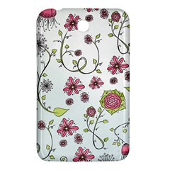 Pink whimsical flowers on blue Samsung Galaxy Tab 3 (7 ) P3200 Hardshell Case