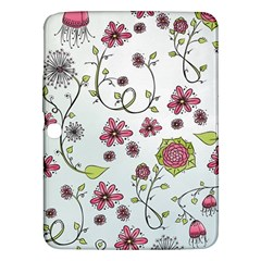 Pink whimsical flowers on blue Samsung Galaxy Tab 3 (10.1 ) P5200 Hardshell Case