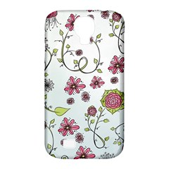 Pink whimsical flowers on blue Samsung Galaxy S4 Classic Hardshell Case (PC+Silicone)