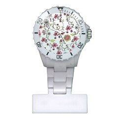 Pink whimsical flowers on blue Nurses Watch