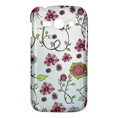 Pink whimsical flowers on blue Samsung Galaxy Ace 3 S7272 Hardshell Case