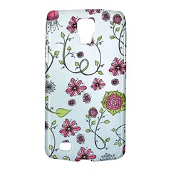 Pink whimsical flowers on blue Samsung Galaxy S4 Active (I9295) Hardshell Case
