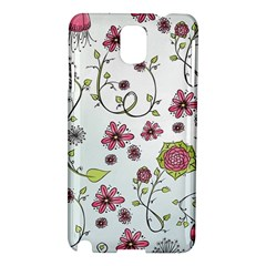 Pink Whimsical Flowers On Blue Samsung Galaxy Note 3 N9005 Hardshell Case