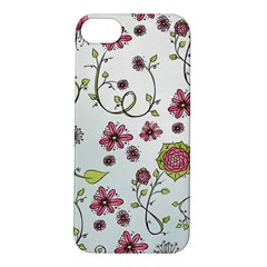 Pink whimsical flowers on blue Apple iPhone 5S Hardshell Case