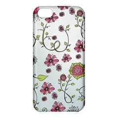 Pink whimsical flowers on blue Apple iPhone 5C Hardshell Case