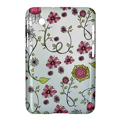 Pink Whimsical Flowers On Blue Samsung Galaxy Tab 2 (7 ) P3100 Hardshell Case