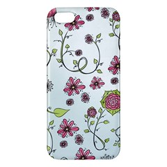 Pink whimsical flowers on blue iPhone 5S Premium Hardshell Case