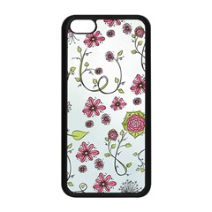 Pink whimsical flowers on blue Apple iPhone 5C Seamless Case (Black)