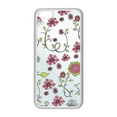 Pink Whimsical Flowers On Blue Apple Iphone 5c Seamless Case (white)