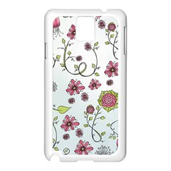 Pink Whimsical Flowers On Blue Samsung Galaxy Note 3 N9005 Case (white)