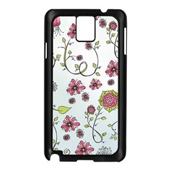 Pink whimsical flowers on blue Samsung Galaxy Note 3 N9005 Case (Black)