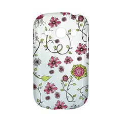 Pink whimsical flowers on blue Samsung Galaxy S6810 Hardshell Case