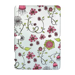 Pink whimsical flowers on blue Samsung Galaxy Note 10.1 (P600) Hardshell Case