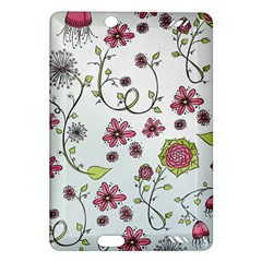 Pink whimsical flowers on blue Kindle Fire HD 7  (2nd Gen) Hardshell Case