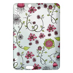 Pink whimsical flowers on blue Kindle Fire HDX 7  Hardshell Case