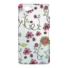 Pink whimsical flowers on blue Sony Xperia Z1 Mini Hardshell Case