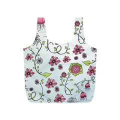 Pink whimsical flowers on blue Reusable Bag (S)