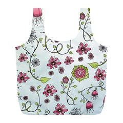 Pink Whimsical Flowers On Blue Reusable Bag (l)
